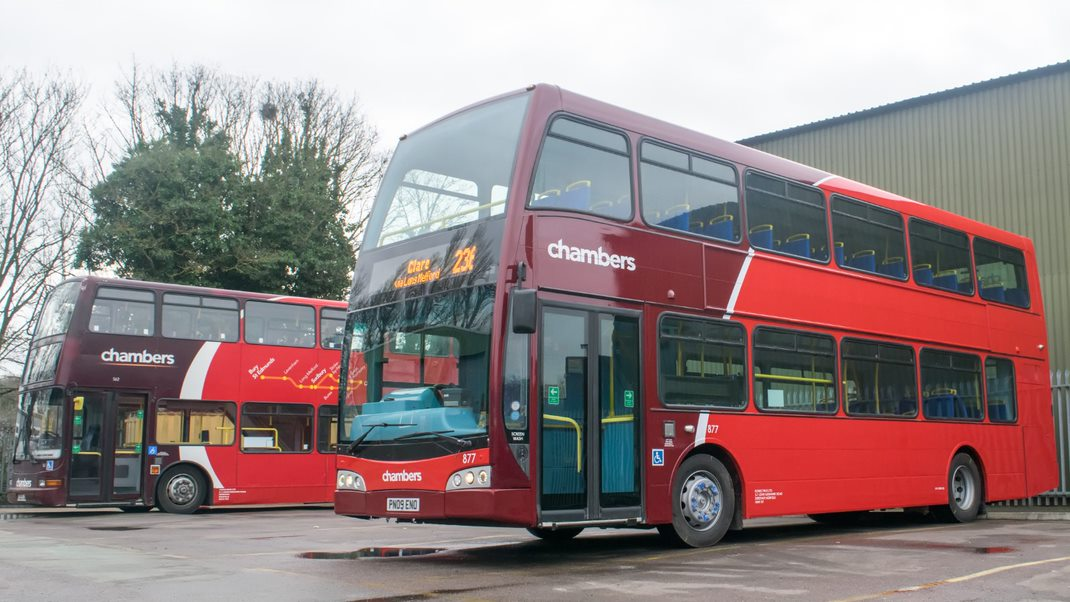 Photo of a Chambers double decker bus