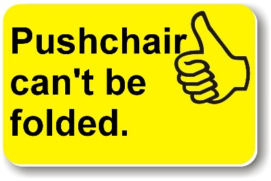 Illustration of a Helping Hand card reading 'Pushchair can't be folded.'