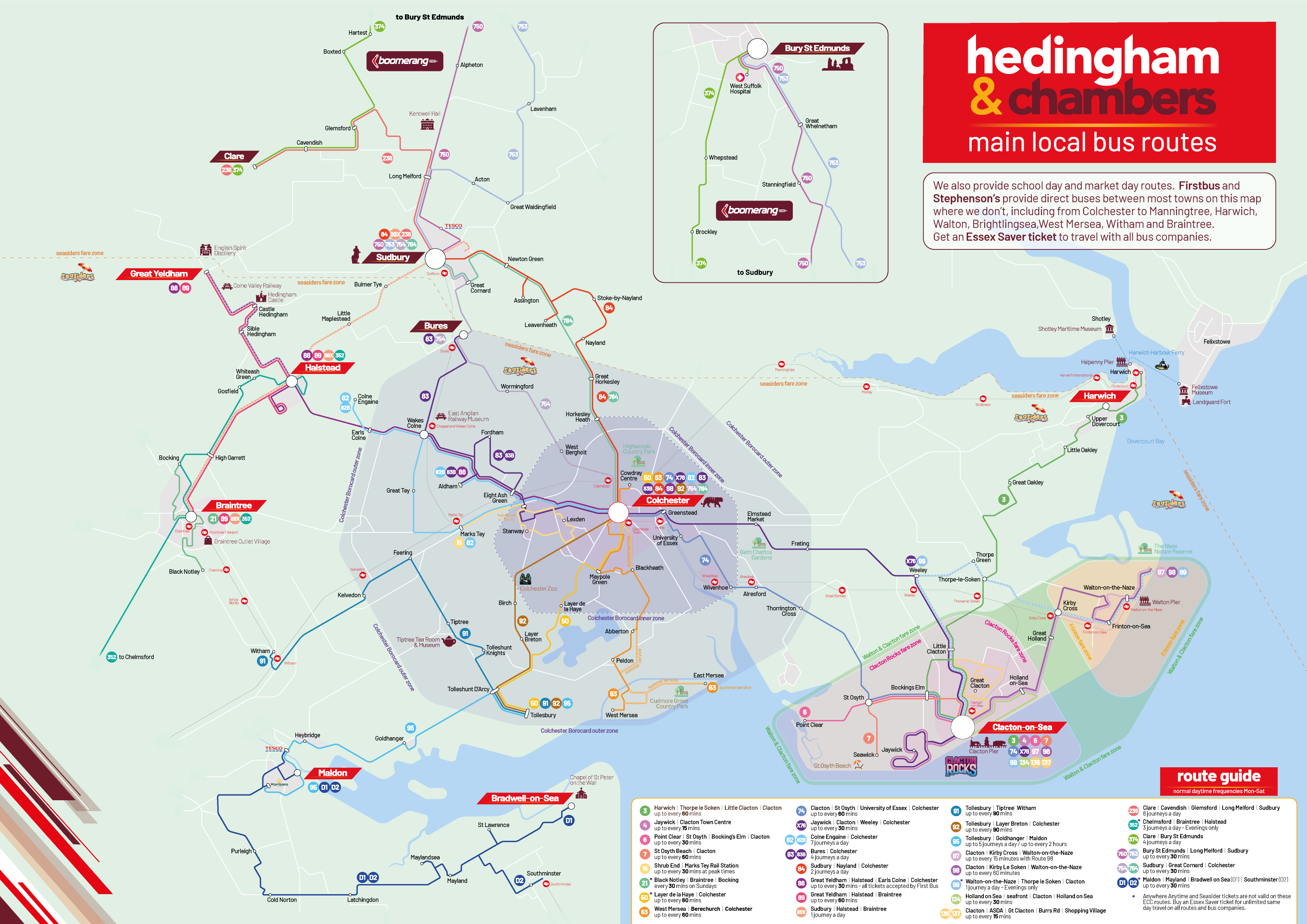 Hedingham and Chambers route network map